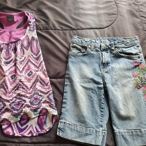 girl size 6 emrboidered capri and top